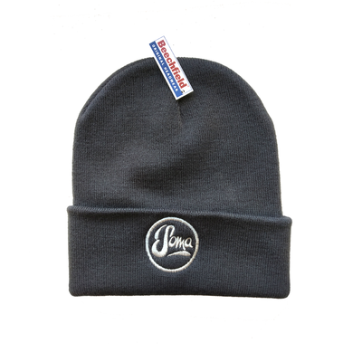 Dark Grey Beanie with embroidered logo - £10
